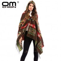 US $15.95 40% OFF|OMCHION Hooded Tassel Poncho Women 2018 Autumn Grometric Retro Sweater Jacket Casual Loose Plus Size Knitwear Cloak Coat LMM215-in Cloak from Women