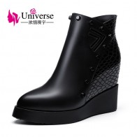 US $67.08 48% OFF|Women Genuine Leather Wedge Heel Ankle Boots Universe Platform Warm Plush Increased Internal High Heel Shoes Winter Boots C201-in Ankle Boots from Shoes on Aliexpress.com | Alibaba Group