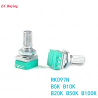 94.2 руб. 15% СКИДКА|10 шт. RK097N один потенциометр B5K B10K B20K B50K B100K аудио усилитель герметичный потенциометр 15 мм 3Pin