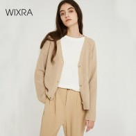 US $14.99 60% OFF|Wixra Women Stylish Knitted Cardigan 2019 Autumn Spring Pure Color V Neck Flare Sleeve Button Casual Ladies Sweaters-in Cardigans from Women
