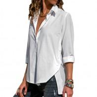 567.56 руб. 40% СКИДКА|Женские блузки, весна, лето 2019, однотонная блуза на пуговицах, блуза с длинными рукавами и отложным воротником, рубашка, туника, повседневные свободные женские кофты XL купить на AliExpress