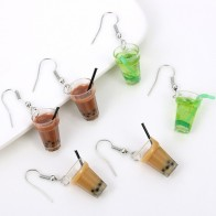 US $0.49 40% OFF|Creative Unique Drop Earrings Women  Wine Bottle Bubble Tea Earring Personality Resin Milk Tea Drink Wine Bottle Earrings Funny-in Drop Earrings from Jewelry & Accessories on AliExpress
