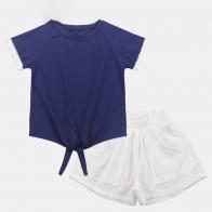 680.94 руб. 40% СКИДКА|Комплект одежды для больших девочек 2019, комплект одежды для девочек, летняя детская одежда, однотонный топ + шорты, 2 предмета, одежда для подростков 6, 8, 12 лет купить на AliExpress