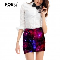 US $13.49 25% OFF|FORUDESIGNS space skirt for women fashion empire pencil skirt office lady mini skirt galaxy skirts womens brand short 2018-in Skirts from Women