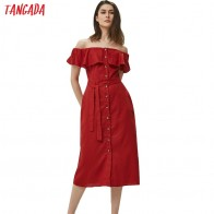 US $15.62 30% OFF|Tangada women cotton linen strapless dress trending styles fashion summer sexy beach dress with belt short sleeve slash neck 3H5-in Dresses from Women