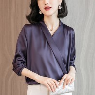 US $12.98 45% OFF|2019 Spring Fashion Female Casual Elegant Solid Chiffon Blouse Women Silk Satin Shirts Office Lady Career Blusa Pullover tops -in Blouses & Shirts from Women