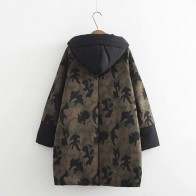 Одиннадцать больших женских больших размеров сшивают в длинном свободном куртке камуфляжа Harajuku BF 3XL  купить в интернет-магазине Pandao.ru по цене 2987 руб.