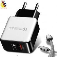Универсальный QC3.0 USB Зарядное устройство ЕС Plug 18 Вт Quick Charge 3,0 Быстрый адаптер стены мобильный телефон Зарядное устройство для xiaomi huawei samsung S8 S9 купить на AliExpress