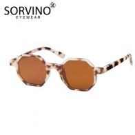 Женские солнцезащитные очки в восьмиугольной оправе SORVINO, уникальные винтажные квадратные очки в узкой оправе белого, красного и розового ц... - Трендовые очки