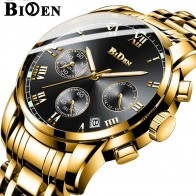 US $19.99 45% OFF|BIDEN Calender Mens Gold Watches Multifunctional Clock Stainless Steel Strap Business luxury Quartz Wristwatch relogio masculino-in Quartz Watches from Watches on Aliexpress.com | Alibaba Group