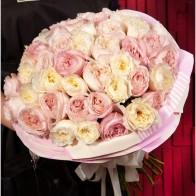 """Доставка цветовРоссияМоскваБукет-трио """"David Austin"""" (15,25,51 или 75) - Цветы и Шары"""