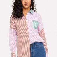 Контрастная рубашка в полоску с карманом