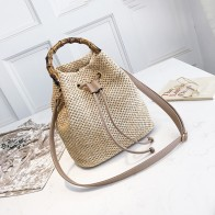 Drawstring Women's Straw Bucket Bag Summer Woven Shoulder Bags Shopping Purse Beach Handbag Straw Handbags Travel Bag - Плетеные сумки на лето