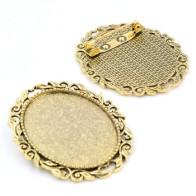 Новая мода, 5 шт., 30x40 мм, внутренний размер, античное золото, цветная заколка, брошка в цветочек, основа, подвеска (B3-19)