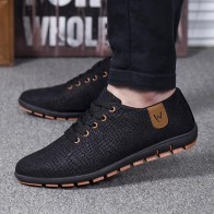 US $32.0 8% OFF|Spring/Summer Men Shoes Breathable Mens Shoes Casual Fashion Low Lace up Canvas Shoes Flats Zapatillas Hombre Plus Size 45,46,47-in Men