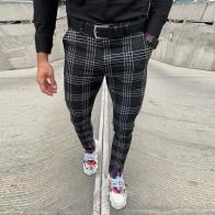 Pantalones informales para hombre, pantalones negros ajustados a cuadros con cremallera a media cintura, ceñidos para negocios, oficina, trabajo, fiesta, elástico de primavera para hombre