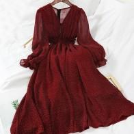 2019 Новая модная женская одежда с v-образным вырезом волнистое платье зимнее платье M338