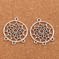 Filigree Tribal Dreamcatcher 1 3 Connector Charm Pendant L1624 33.9X28.6mm 10pcs Antique Silver-in Jewelry Findings & Components from Jewelry & Accessories on AliExpress