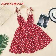 935.09 руб. 25% СКИДКА|ALPHALMODA праздничное платье на бретельках с открытой спиной, v образный вырез, высокая талия, в горошек, с принтом, женское летнее пляжное платье-in Платья from Женская одежда on Aliexpress.com | Alibaba Group