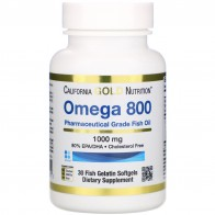 California Gold Nutrition, Омега 800 производства Madre Labs, рыбий жир фармацевтического класса, 80% ЭПК/ДГК, в форме триглицеридов, 1000мг, 30мягких капсул с рыбным желатином