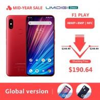 12423.55 руб. 24% СКИДКА|UMIDIGI F1 Play Android 9,0 Восьмиядерный 48MP камера 5150 мАч 6 ГБ ОЗУ 64 Гб ПЗУ NFC 6,3