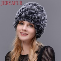 US $8.74 77% OFF|JERYAFUR Man woman real fur hat horn rabbit fur handmade fur one knit hat female winter ski hat cap cap free shipping-in Men