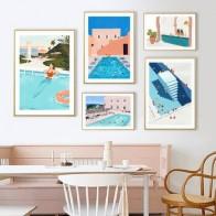 Летние вечерние настенные картины для плавания, картины на холсте, плакаты и принты для интерьера гостиной, украшения для дома
