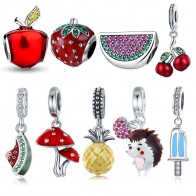 925 Sterling Silver Fruit Collection Watermelon Pineapple Strawberry Apple Charm Fit Charm Bracelet DIY Silver 925 Jewelry Gift-in Charms from Jewelry & Accessories on AliExpress
