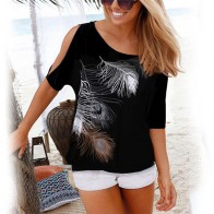 US $4.99 50% OFF|Women Summer 2019 Tshirt Casual Short Sleeve Tops Tees Sexy Off Shoulder Feather Print T Shirt O neck Loose Plus Size 5XL Shirts-in T-Shirts from Women
