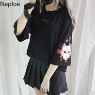 US $8.18 13% OFF|Neploe Japanese Harajuku Women T Shirt Vintage Print Black T shirt Back Bandage Short Sleeve Lady Tops Summer Loose Tee 39004-in T-Shirts from Women