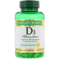 Nature's Bounty, D3, 125 mcg (5,000 IU), 240 Rapid Release Softgels - Vitamin D