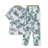 US $13.92 20% OFF|Summer Fresh leaf pyjamas women 100% gauze cotton short sleeve trousers Korea pajamas sets women sleepwear homewear mujer-in Pajama Sets from Underwear & Sleepwears on AliExpress - 11.11_Double 11_Singles