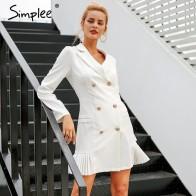 1506.18 руб. 45% СКИДКА|Женское белое двубортное платье с оборкой Simplee, элегантное платье блейзер для зимы и осени, стройнящее платье для офиса-in Платья from Женская одежда on Aliexpress.com | Alibaba Group