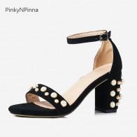 1677.27 руб. 43% СКИДКА|Женские роскошные сандалии с ремешком на лодыжке из овечьей замши, украшенные жемчугом, на высоком каблуке, в богемном стиле, Винтажная обувь наивысшего качества-in Женские сандалии from Туфли on Aliexpress.com | Alibaba Group