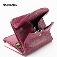 US $14.76 59% OFF|BISON DENIM Genuine Leather Women Purse Coin Wallet for Women 2019 Cowhide Female Card Holder Carteira Feminina Lady purse N3274-in Wallets from Luggage & Bags on Aliexpress.com | Alibaba Group