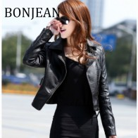 US $23.16 23% OFF|BONJEAN 2018 Autumn Coats and Outerwear Long Sleeve Slim Jacket for Women PU Leather Short Jacket Black Leather Jacket BJ354-in Leather & Suede from Women