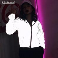 Mnealways18 серая Светоотражающая куртка в стиле хип-хоп, уличная мода, повседневное пальто с капюшоном на молнии, осенние женские куртки, пальто,...