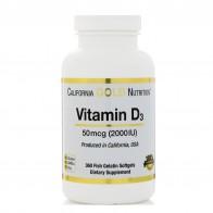 California Gold Nutrition, Витамин D3, 50 мкг (2000 МЕ), 360 мягких капсул с оболочкой из рыбьего желатина