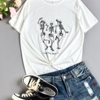 Skull And Slogan Graphic Tee - For women