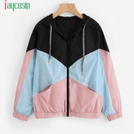 US $10.32 40% OFF|Women Long Sleeve Zipper Pockets Casual Sport Coat multi Color cut and sew windbreaker with hood Color block Coats SE0805-in Basic Jackets from Women