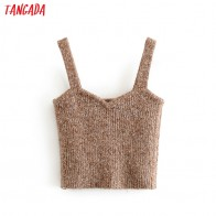 Tangada Women solid knitted Tops Sexy V-neck Tanks big Strethy Backless Camisole Short Tops Camis 3H59