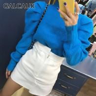 1467.16руб. 39% СКИДКА|GALCAUR корейские вязанные женские свитера с рюшами, круглый вырез, длинный рукав, пуловер большого размера, женский свитер, 2019 Осенняя мода, Новинка on AliExpress