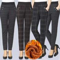 740.54руб. 44% СКИДКА|Большие размеры, 2019, весенние, зимние, женские, в клетку, теплые, плюс бархат, брюки, тонкие, высокая талия, тянущиеся, узкие брюки, женские брюки-in Штаны и капри from Женская одежда on AliExpress