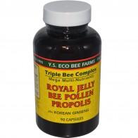 Y.S. Eco Bee Farms, Royal Jelly, Bee Pollen, Propolis, Plus Korean Ginseng, 90 Capsules