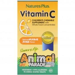 Nature's Plus, Source of Life, Animal Parade, Vitamin C, Children's Chewable Supplement, Natural Orange Juice Flavor, 90 Animal-Shaped Tablets