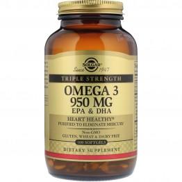 Solgar, Omega-3, EPA & DHA, Triple Strength, 950 mg, 100 Softgels