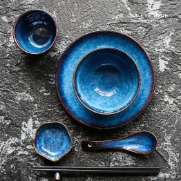 2892.7 руб. 20% СКИДКА|5 шт. в наборе темно синяя керамическая посуда 1 человек столовый сервиз тарелка чаша чашка соус блюдо фарфоровая посуда-in Столовые сервизы from Дом и сад on Aliexpress.com | Alibaba Group