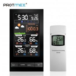 2849.43 руб. 30% СКИДКА|PROTMEX PT2810 метеостанция Температура Влажность Беспроводной Красочные ЖК дисплей с барометром прогноз погоды купить на AliExpress