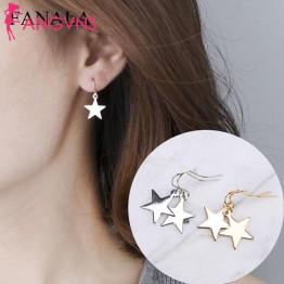 Серьги Золотая Звезда Для женщин молния Серебряные ювелирные изделия простые геометрические подарок падение моды Повседневное купить на AliExpress
