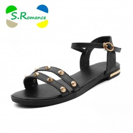 US $15.18 49% OFF|S.Romance Genuine Leather Women Flats Sandals Plus Size 34 43 New Fashion Casual Solid Shoes Woman Beige Black White SS1119-in Low Heels from Shoes on Aliexpress.com | Alibaba Group
